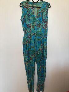 80s Vintage Indian Cotton Jumpsuit Romper Suit, Summer Hols Aztec Print 8-10