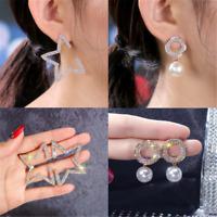 Creative Star Luxury Gold/Silver Crystal Pearl Fashion Ear Stud Earrings Gift