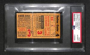 1942 WORLD SERIES GAME 3 ST LOUIS CARDINALS SHUTOUT YANKEES  WS WIN TICKET PSA
