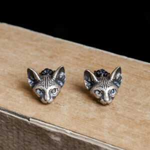 New Retro Solid 925 Sterling Silver Cat Skull Stud Earrings Punk Gothic
