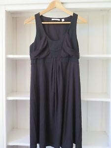 COUNTRY ROAD Sz S Simple Style Black Dress with Silk Upper Detail VGC