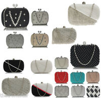 Womens Clutch Box Crystal Beaded  Ladies Hard Case Evening Party Clutch Bag New