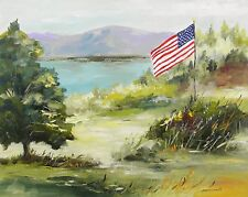 ORIGINAL FLAG Landscape Painting Impressionism JMW John Williams art Acrylic