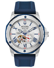 Bulova Marine Star 98A225 45mm Silver White (Heartbeat Skeleton) Crystal Case with Blue (Red Backed) Silicone Strap Men's Wristwatch