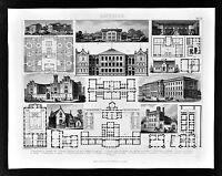 1874 Bilder Architecture Print Various Facades & Floor Plans Germany Schools