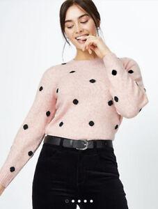George Bnwt Pale Pink & Black Spot Polka Dot Print Jumper Size M 12/14