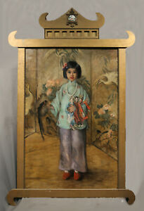 Young Asian Japanese Girl Portrait American Painting Early 20th Century Late 19