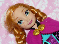 """Mattel Disney Doll FROZEN ANNA DOLL with Clothing & Shoes 2013 11"""" tall Barbie"""