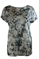 Ex Store Womens Grey Black White Burnout Tee Top Loose fit casual Top 10 - 20
