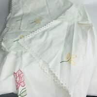 Vintage White Embroidered Bed Cover Twin Spread Pink Yellow Flowers
