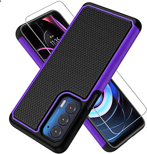 For Motorola Moto Edge 2021 Case and 2 Pack Tempered Glass Screen Protector Set