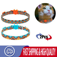 2X Cat Collar With Bells Unique Ttribal Style Cat Collar Safe Buckle Adjustable