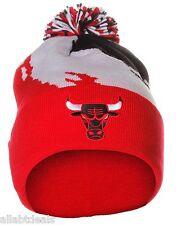 CHICAGO BULLS KK40Z Authentic Pom Pom Beanie Winter Warm Black White Red Cap