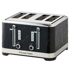 Russell Hobbs Structure Electric 4 Slice Bread Toaster w/Crumb Tray 1800W BLK