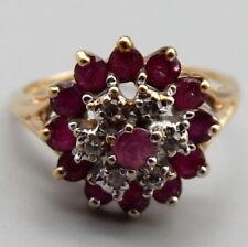Vtg 10K Gold Natural Ruby Diamond Ring Sz 6.5 Cluster Estate 13 Stone Ornate