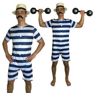 20s Bathing Suit Costume Old Time Mens Victorian Beach Swimsuit Fancy Dress