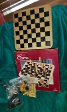 Vintage Cardinal Chess Set Solid Wood Carved Pieces Oak Finished Board 1993