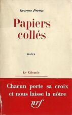 RARE EO 1960 1ER LIVRE DE GEORGES PERROS + BANDEAU : PAPIERS COLLÉS. NOTES