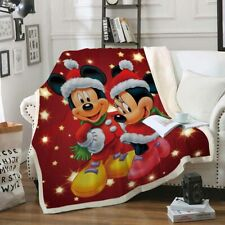 3D Christmas Mickey Minnie Mouse Velvet Plush Throw Blanket Bedding Thick Quilt