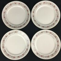 "Lot of 4 VTG Salad Plates 8 1/4""  Mikasa Grosvenor Rust  Gray Floral Japan L6216"