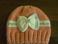 BABY GIRLS KNITTED BOW HAT WARM BLING DETAIL CASUAL WEAR 0-12 MONTHS