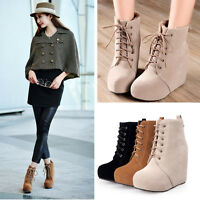 Womens Ladies Faux suede Lace Up Wedge Heel Ankle Boots Shoes UK Size 1--8 B75