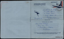 1966 Tail of Aeroplane Used Aerogramme SS-A25 Postmark Stamps Australia