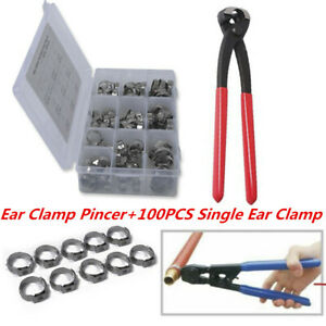 100PCS 10 Sizes Sealing Stainless Steel Single Ear Hose Clamps w/ Plier Pincer