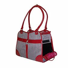 NEW Fashion Houndstooth Print Pet Dog Animal Soft Tote Bag Carrier Red - 254