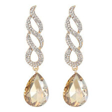 Pierced Champagne Large Crystal Tear Drop Sparkly Diamante Dangle Earrings Gold