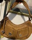 BRIGHTON SOLEDAD Dual Pocket Tote Leather  Tan Vintage hobo Boho Shoulder BAG