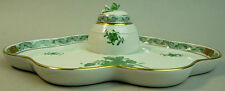 LOVELY HEREND CHINESE GREEN BOUQUET PORCELAIN DESK INKWELL