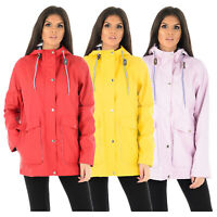 LADIES WOMENS RAIN COAT PU PVC PARKA JACKET FESTIVAL MAC RUBBERISED HOODED MAC