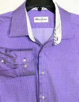 Robert Graham Shirt 17-43 Purple Stripe Casual Dress Shirt Long Sleeve Cotton