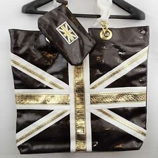 Twiggy London Women'sLarge Oversized Tote Bag + Coin Purse British Flag Brown