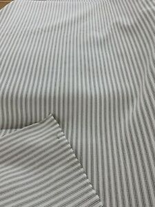 "Railroaded Linen / Offwhite Ticking Stripe Upholstery Fabric 54"" By The Yard"