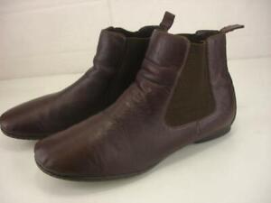 Born Women's sz 11 M Brenta Dark Purple Leather Ankle Boots Booties Flat Slip-On