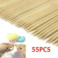 55PCS/Set 11 Sizes Double Pointed Carbonized Bamboo Knitting Needles 2mm - 5mm