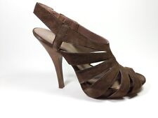 ASH Brown Suede Leather High Heel Strappy Slingback Shoes Uk 6 Eu 39