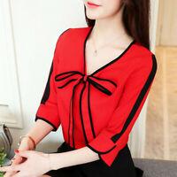 Summer Women Short Sleeve Bow Knot Casual Business Chiffon Shirt Blouse Top Plus