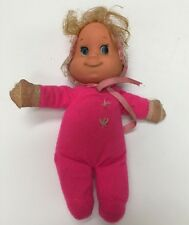 """Vintage 1970 Mattel Baby Beans Itsy Bitsy Doll 8"""" Bright Neon Pink"""