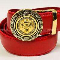 Fashion Buckle Men Leather Red Automatic Ratchet Slide Gold Metal Lion Head Belt