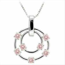 925 Silver Pink CZ Floating Double Circle Designer-Inspired Pendant, 18""