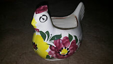 """Rare Blue Ridge Southern Potteries? USA Hand Painted 10"""" Rooster/Chicken Planter"""