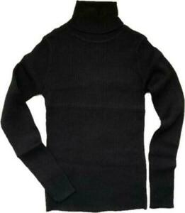 NEXT Black Girls Warm Knitted Ribbed Polo Neck Roll Neck Jumper top Sweater 3/16