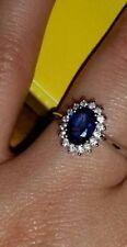 ANELLO PRINCIPESSA ORO BIANCO 18 kt con diamanti e  zaffiro naturale  SCONTO 50%