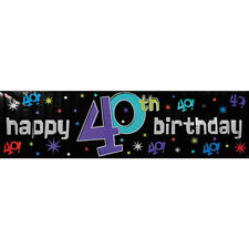 THE PARTY CONTINUES 40th BIRTHDAY GIANT BANNER ~ Supplies Hanging Decorations