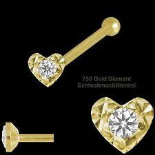 Gold 750 Nasenpiercing 2,3 mm Herz gefasster Zirkonia Nasenstecker Kugelstift