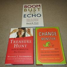 Lot of 3 Hardcover Business Books: Boom Bust Echo; Change Monster; Treasure Hunt