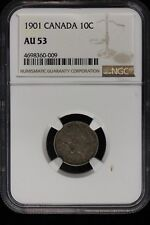 1901 Canada. 10 cents. NGC Graded AU-53